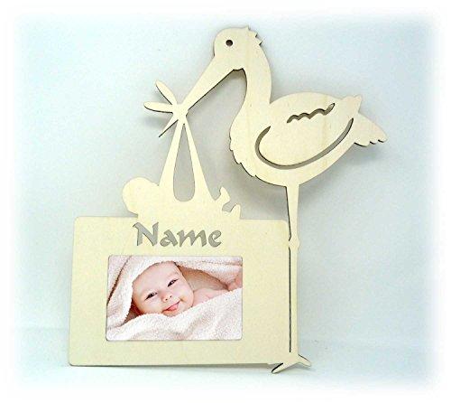 Baby Storch Wand Tür-Schild Bilderrahmen Baby-Geschenke zur Geburt Kinder Junge & Mädchen mit Namen Gravur