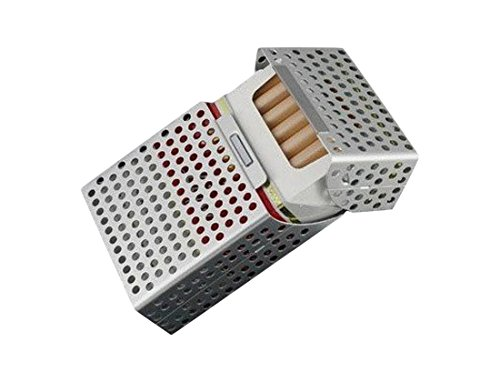 タバコ ケース 軽量 アルミ パンチング 連動タイプ (シルバー)