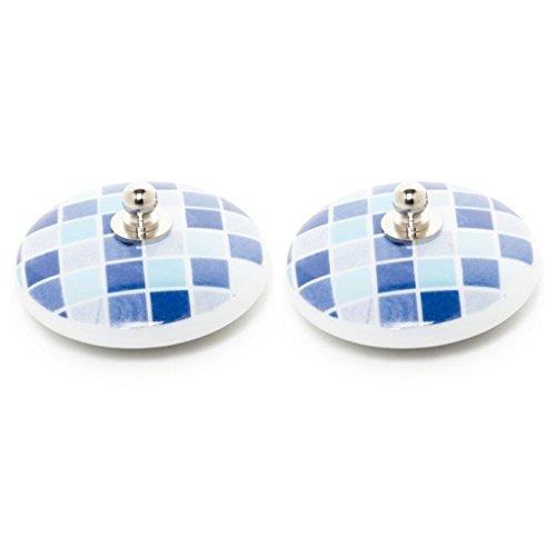 Tapón Lavabo, bañera y Bidet Universal Decorado 2 uds Porcelana gresite Azul