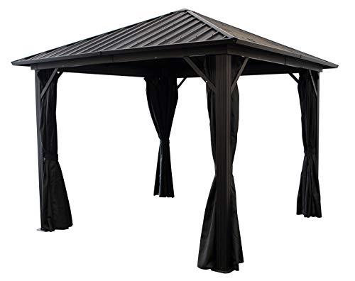 Garten Pavillon NOVARA 3x3 Meter, Alugestell schwarz, Dach aus verzinktem Trapezblech/Metall, schwarz, mit Seitenteilen dunkelgrau