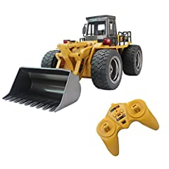 [ Alloy Shovel Loader ] -- Heavy metal shovel loader in alloy material, sound and powerful shovel scoop loading and dumping in deep sand/gravel/soil,premium quality alloy driving cab and wheel hubs. Spare battery pack: B076X1KFWJ [ 4 Wheel Drive Fort...