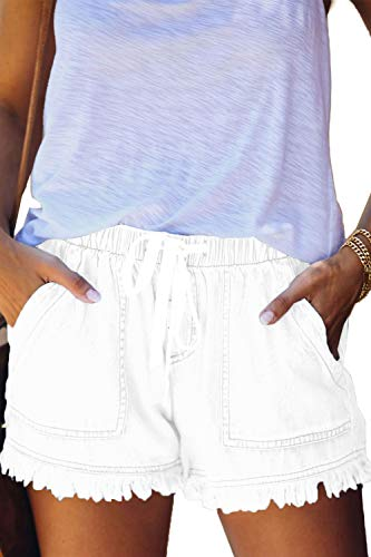 HVEPUO Womens Summer Comfy Paper Bag Jean Shorts Beach Travel Drawstring Casual Cut Up Frayed Hem Elastic Waist Fringe Short White Jeans for Women White M