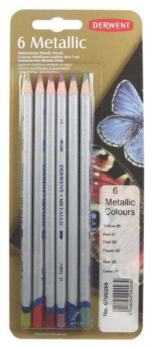 Derwent Metallic Colored Pencils, Pack, 6 Count (0700259)