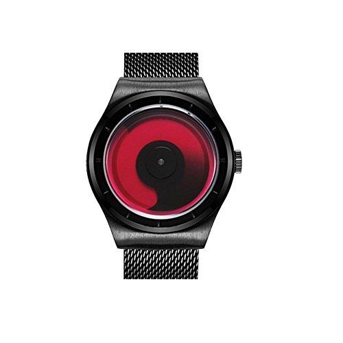 XINLEE Herrenuhr Quarzwerk Farbe rotierenden Gesicht solide Edelstahlband Quarzuhr, red