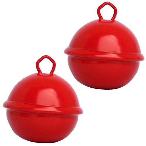Campanellini Rosso (2x 35 mm) Campanelle colorati musicali metallo 16 colori : giganti 35mm grandi 25mm piccoli 15mm, Fai da te decorazioni natale matrimonio giochi Montessori gatto cani sonaglio