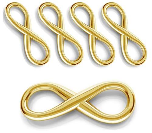 My-Bead 5 Stück Verbinder Infinity Unendlichkeit 16mm 925 Sterling Silber 24K vergoldet Anhänger in Juweliers- Qualität DIY