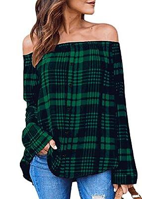 Women Cold Off Shoulder Button Down T Shirt Casual Plaid Tops Long Sleeve T-Shirt Blouse