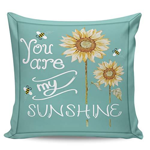 Scrummy Fundas de almohada de 45,72 x 45,72 cm You are my Sunshine Farm girasoles abejas, verde azulado, funda de cojín cuadrada para decoración del hogar