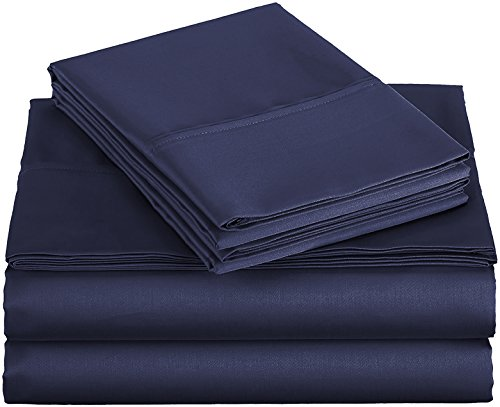 EVOLIVE Ultra Soft Solid Premium Brushed Microfiber 4 Piece Sheet Sets Including 1 Flat Sheet, 1 Fitted Sheet, and 2 Pillow Cases (Navy, Queen)