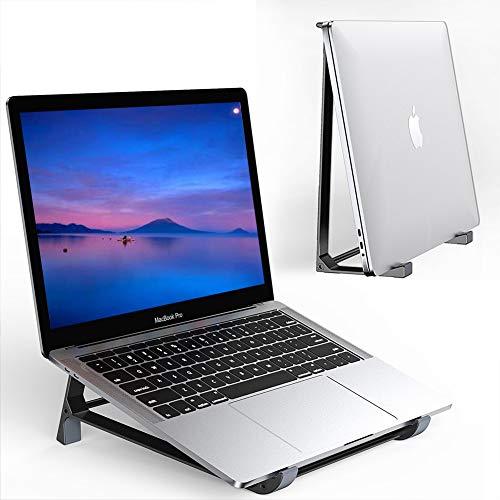 Supmega - Soporte vertical para computadora portátil de computadora, diseño 2 en 1, compatible con MacBook Air Pro, Surface, Dell XPS y otros portátiles de 10 a 17 pulgadas, Negro