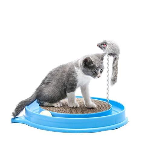 Gato Rascador Juguete Gato Divertido Juguete Rascador Redondo Con Una Bola Y Un Juguete Peludo De Ratón - Azul
