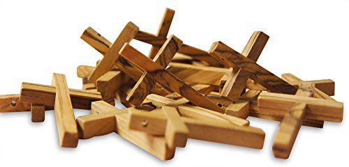 Novel Merk 20-Piece Wooden Cross Set Made in the Holy Land for Vacation Bible School Arts and Crafts or Church Carnival Fundraising Religious Jewelry Gifts