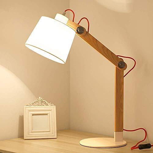 HtapsG Lámpara Escritorio Lámpara de mesita de Noche para Dormitorio lámpara nórdica Simple Moderna Personalidad Creativa Regulable lámpara de Noche cálida de Madera Maciza 53 * 59 cm