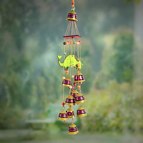Unravel India Carillon à vent en laiton et bambou à suspendre pour décoration intérieure/balcon/jardin/bureau Multicolore