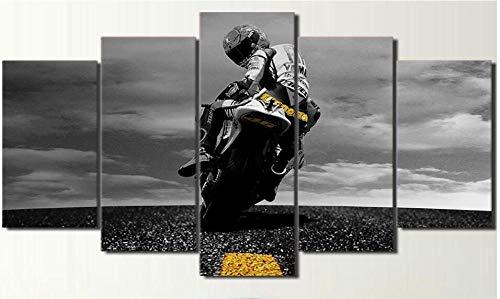 SYLSBAZGYS Lienzo de 5 Piezas póster de Moto de Valentino Rossi Arte de Pared Impreso en HD decoración del hogar Cuadro de Pintura en Lienzo sin marco-40x60_40x80_40x100cm