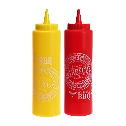 Set met 2 flessen voor sauzen van kunststof, motief bbbq ketchup/mosterd, 200 x 55 mm