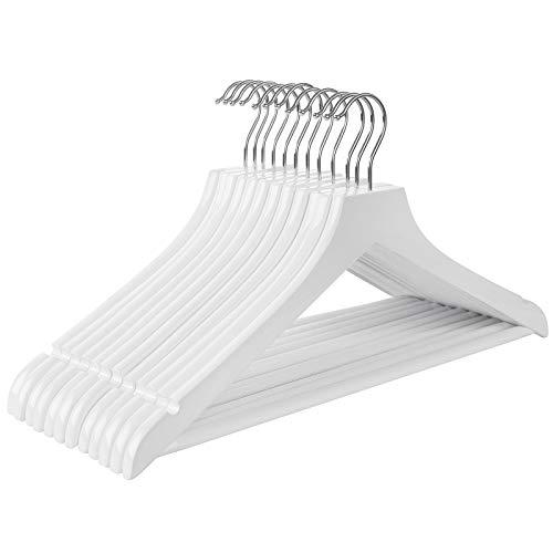 SONGMICS Kleiderbügel für Mäntel, 12er Set, Holzbügel, mit rutschfesten Einkerbungen im Schulterbereich, Hosenstange, um 360° drehbarer Haken, für Hemden, Jacken, Hosen, weiß CRW002W01