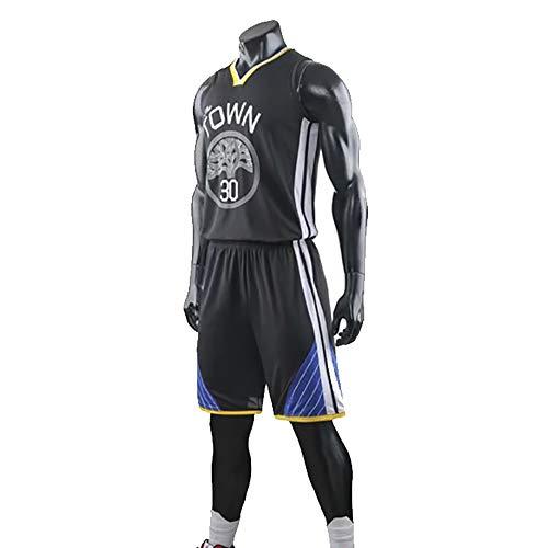 Maglia da Basket da Uomo, NBA Golden State Warriors # 30 Stephen Curry Fans Uniformi da Allenamento, T-Shirt Traspirante Resistente all'Usura Canotta + Pantaloncini,Nero,5XL