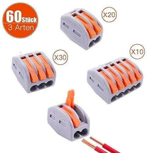 60 Stück Verbindungsklemmen, 3 Typen sind separat verpackt, 2/3/5-Leiter Klemme mit Hebel, Klemmen 2 Polig 20 Stück, Klemmen 3 Polig 30 Stück, Klemmen 5 Polig 10 Stück