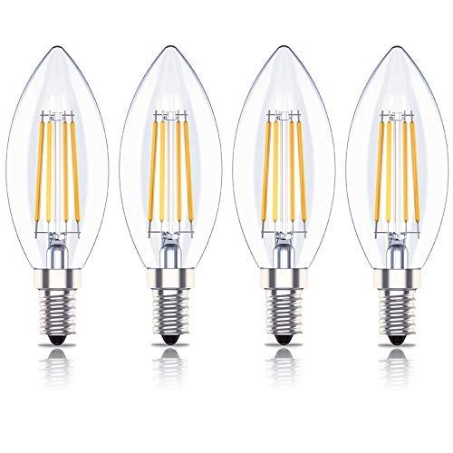 Huoqilin Lampadina LED Oliva, Attacco E14 Dimmerabile, Luce Bianca Calda 2700K, 4W Equivalenti a 40 W, 4 Pezzi
