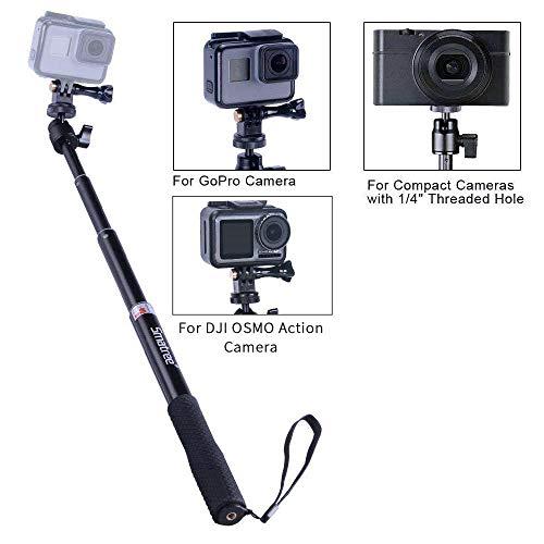 Smatree Extendable Aluminum Selfie Stick/Monopod Compatible for GoPro Max/Hero 10/9/8/7/6/5/4/3+/GOPRO Hero(2018)/AKASO GeekPro SJCAM SJ4000 SJ5000 Xiaomi Yi Camera Action Camera
