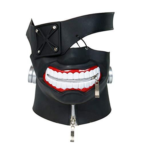 Nofonda Nuevo Tokyo Ghouls Ken Kaneki 3D Máscara Negro,PU Cuero,Sólida y Realista, Disfraz de Cosplay para Halloween,Fiesta Temática, Mascarada, Carnaval