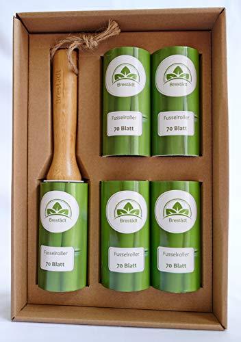 Bambus Fusselroller 4 Extra Kleberollen je 70 Blatt