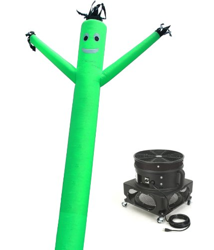 LookOurWay Air Dancers Inflatable Tube Man Complete Set with 1 HP Blower, 20-Feet, Green