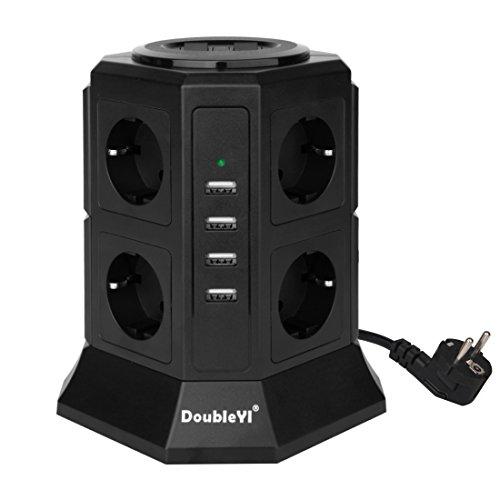 DoubleYI 8 Fach Steckdosenleiste Mehrfachsteckdose Steckerleiste Steckdosenturm und 4 USB Ladeanschlüsse (4,5 A) mit 2,0 m Kabel und energiesparend hat 1000 J Überspannungsschutz und Blitzschutz