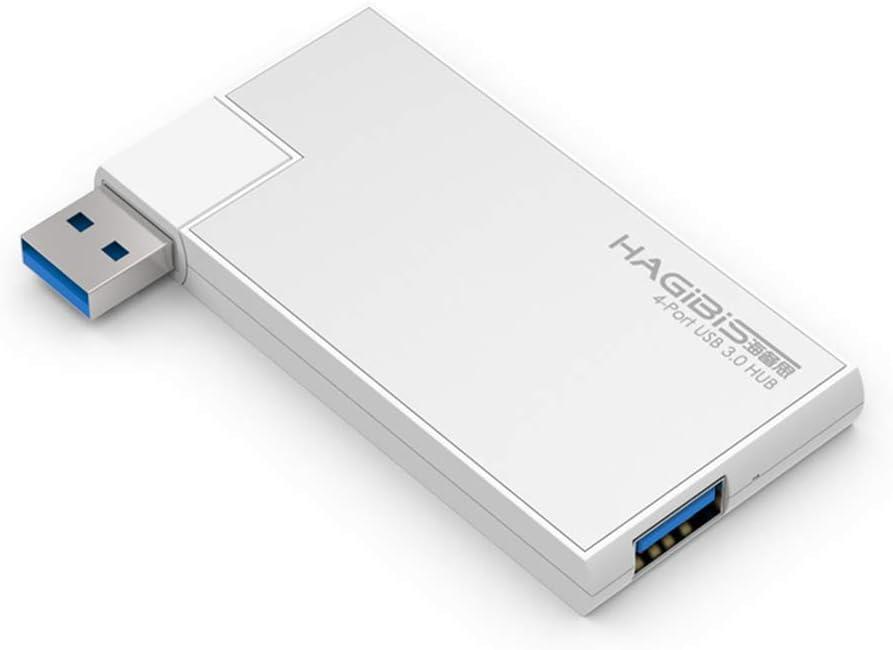 Hagibis USB 3.0 HUB, 180 Degree Rotation Super Speed External 4 Port USB Hub for MacBook Air, Mac Pro/Mini, iMac, Surface Pro, XPS, Notebook, USB Flash Drives, Mobile HDD, Laptop, PC (Sliver)