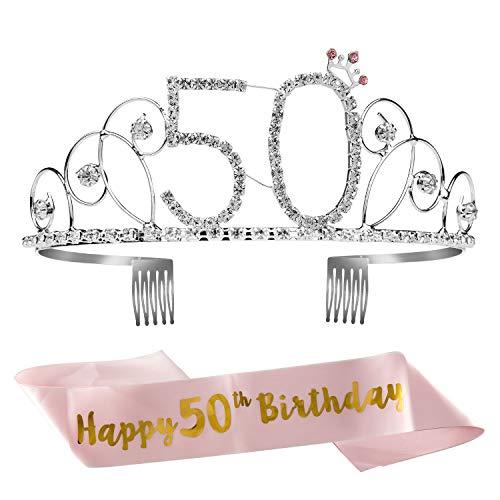 ZWOOS 50 Anni Birthday Corona Compleanno Compleanno Ragazza Glitter Decor Cristallo con Fascia Compleanno di Compleanno Donna Tiara per Feste di Compleanno