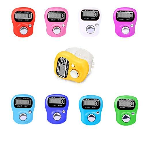 9 Stück Fingerzähler Elektronischer Zähler Rundenzähler Nützliches Elektronisches Reihenzähler Fingerring Digit Marker LCD Zähler(Rot/Lila/Weiß/Rosa/Hellgrün/Blau /Marineblau/Himmelblau/Orange)