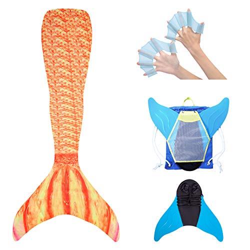 steady flow Mädchen, Meerjungfrau Flosse zum Schwimmen für Kinder, Meerjungfrauenschwanz mit Stabiler Covernaht und Rucksack, Gelb-Rot, Gr 140-146