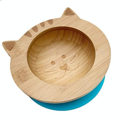 Hochwertige Baby/Kleinkind Saugnapf-Schüssel aus Bambus mit rutschfestem Saugfuß, Kätzchen (Blau)