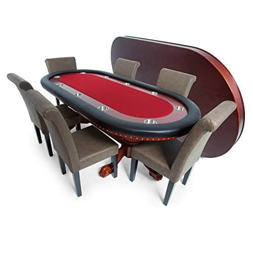 BBO Poker Rockwell Poker Table for 10 Players with Red Speed Cloth Playing Surface, 94 x 44-Inch Oval, Includes Matching Dining Top with 6 Lounge Chairs