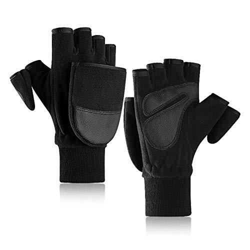 TAGVO Polarvlies Halb Finger Winter Handschuhe Fäustlinge für Damen&Herren,Winddichte thermische Anti-Rutsch Fingerlose Handschuhe,zum Radfahren Wandern Laufen Fotografie Arbeiten bei kaltem Wetter