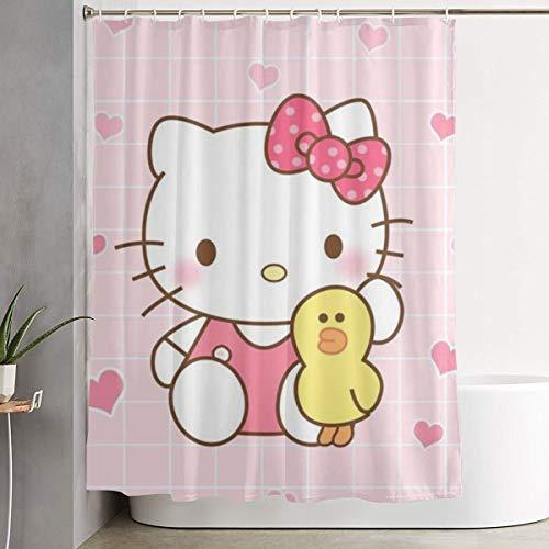 DNBCJJ Cortina de Ducha Hello Kitty con impresión artística de Patos, Tela de poliéster, decoración de baño colección con Ganchos, 60 x 72 Pulgadas