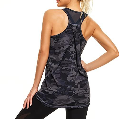 ARIOSEY Womens Yoga Shirts, Mesh Back Workout Tank Tops for Women, Racerback Tank Top for Women
