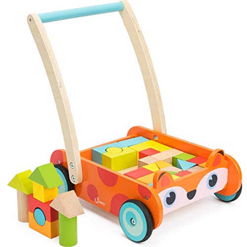 cossy Wooden Baby Learning Walker Toddler Toys for 1 Year Old and up, Fox Blocks and Roll Cart Push Toy (35 pcs)Updated Version