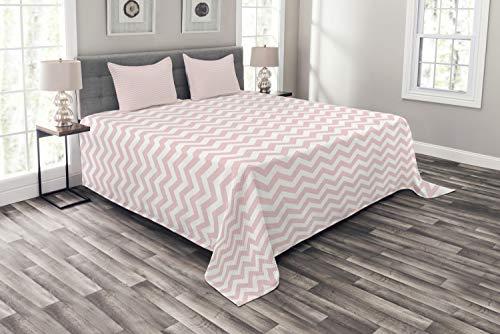 ABAKUHAUS Rose Tagesdecke Set, Zickzack-Chevron-Muster, Set mit Kissenbezügen Sommerdecke, für Doppelbetten 220 x 220 cm, Weiß & Puder Rosa