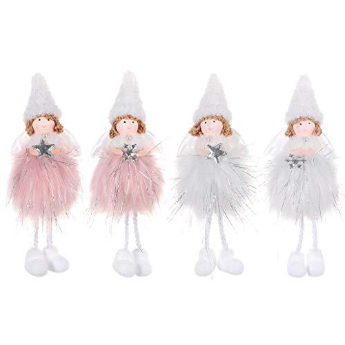 NA/ Yintiod 4pcs niedliche Plüsch-Weihnachtsengel-Mädchen-Puppen-Dekoration, die Weihnachtsbaum-Verzierungen hängt
