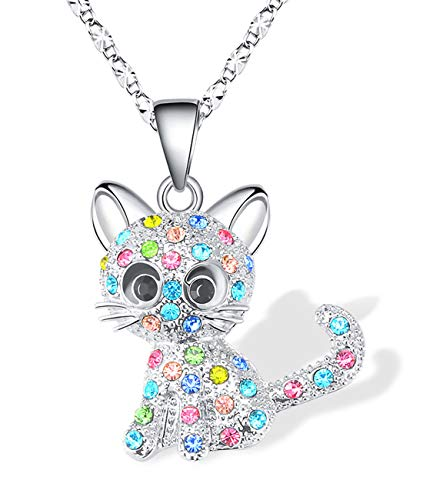 Lanqueen Kitty Cat Pendant Necklace Jewelry for Girls Cat Lover Gifts Daughter Granddaughter Loved Necklace 18+2.3 inch Chain,Color
