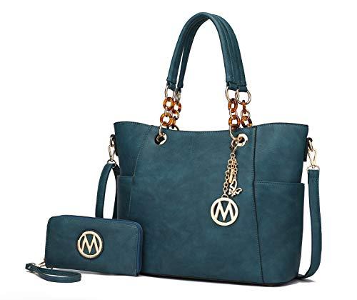 MKF Crossbody Tasche für Damen Set Handtasche Geldbörse Geldbörse - Top-Handle Tote - Abnehmbarer Schultergurt Vegan Leder, Blau (Bonita Teal), Large