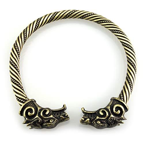URBANTIMBER Wikinger Armreif Fenris Wolf - Silber oder Bronze/Gold