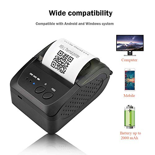 MUNBYN Mini Impresora de Recibo Térmica 58mm para Comida a Domicilio, Impresora Portátil de Ticket, Coneccíon Inalámbrica Bluetooth 4.0/ USB, ESC/POS Compatible con Android/Windows