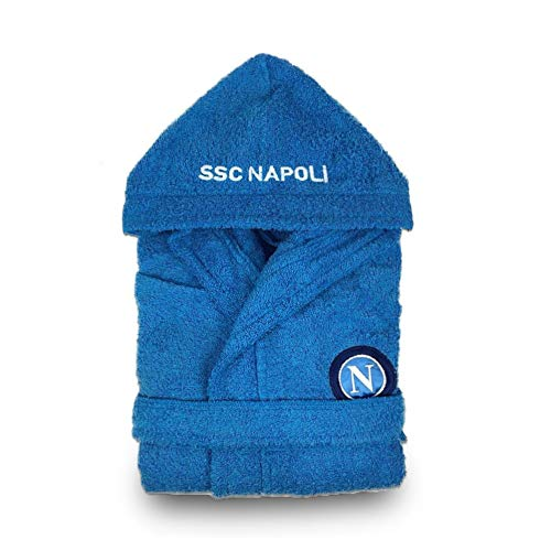 Napoli SSC Bademantel aus Frottee für Erwachsene, offizielles Fußball-Geschenk, 100 % Baumwolle