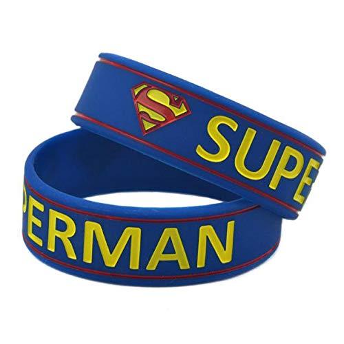 Xlin Pulsera de silicona suave Superman 3/4 pulgadas Anime mano con película regalo (color: azul)