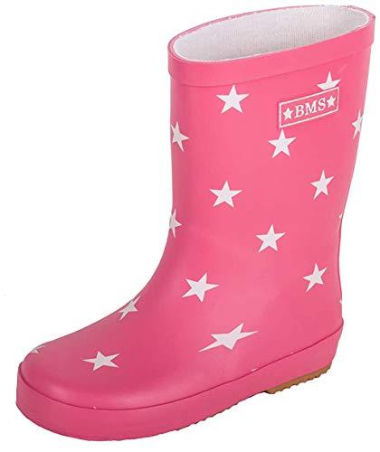 BMS Gummistiefel für Mädchen aus Naturkautschuk - pink mit Sternen - 24
