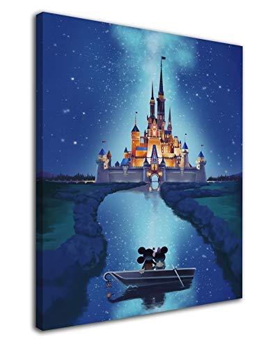 Desconocido Cuadro Lienzo Infantil Mickey y Minnie en Castillo Disney – Varias Medidas - Lienzo de Tela Bastidor de Madera de 3 cm - Impresion en Alta resolucion (34, 50)