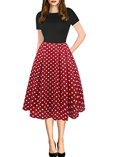 oxiuly Women's Vintage Patchwork Pockets Puffy Swing Casual Party Dress OX165 (XL, BK-Red dot)